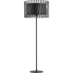 Licht-Erlebnisse Stehlampe MINA Stehlampe Schwarz Metall 145 cm klein Wohnzimmer Lampe