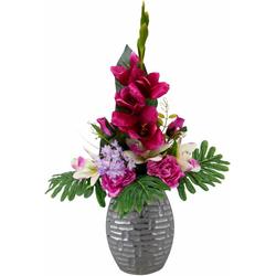 Kunstpflanze Arrangement Gladiole / Rosen in Vase Gladiole/Rosen, I.GE.A., Höhe 67 cm