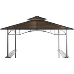 Grasekamp Ersatzdach Hardtop BBQ Pavillon 1,5x2,4m  Doppelstegplatten Polycarbonat Braun