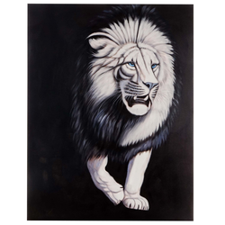 Ölgemälde Weißer Löwe, 100% handgemaltes Wandbild Gemälde XL, 120x90cm