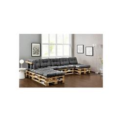 en.casa Palettenkissen, Ingenio Palettensofa 5-Sitzer Palettenmöbel inkl. Kissen Lehnen und 8 Paletten Hellgrau grau