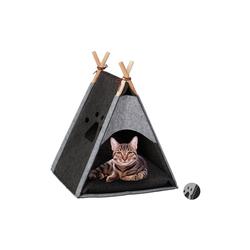 relaxdays Katzenzelt Katzenzelt aus Filz grau