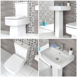 Säulenwaschbecken und WC mit aufgesetztem Spülkasten - Exton, von Hudson Reed
