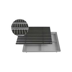 Fußmatte EMCO Eingangsmatte DIPLOMAT Bürsten grau 22mm + ACO Bodenwanne Vario Light Fußmatte Türmatte Abstreifer, Emco, rechteckig, Höhe 75 mm, für Innen- und Außenbereich