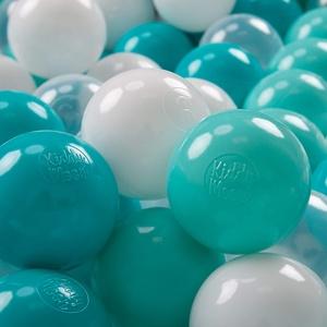 KiddyMoon 300 ∅ 7Cm Kinder Bälle Spielbälle Für Bällebad Baby Plastikbälle Made In EU, Helltürkis/Weiß/Transparent/Türkis