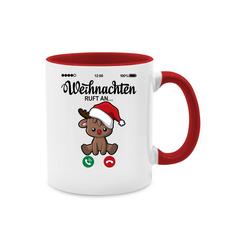 Shirtracer Tasse Weihnachten ruft an mit süßem Rentier - Tasse zweifarbig