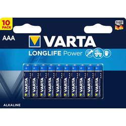 VARTA LONGLIFE Power Alkaline Batterie AAA Micro LR03 10er Batterien Pack Made in Germany Batterie, LR03 (1,5 V)