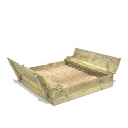 Wickey Sandkasten Flippey mit Klappdeckel 150x165 cm - Sandkasten mit Sitzbank und integriertem Deckel