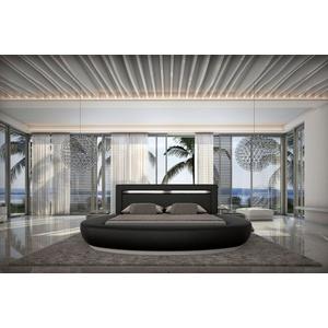 SalesFever Rundbett, mit LED-Beleuchtung im Kopfteil, Design Bett in Kunstleder, Lounge Bett mit stimmungsvollem Licht, Rundbett schwarz 244 cm x 250 cm x 100 cm