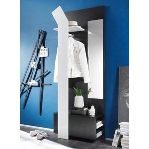 expendio Garderobe Smart, Kompaktgarderobe inkl. Kleiderstange und Spiegel 75x200x33 cm schwarz weiß schwarz