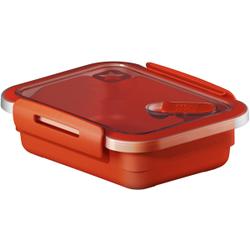 Rotho MEMORY Mikrowellen-Dose, Mikrowellen-Behälter zum Aufwärmen, Transportieren oder Frischhalten, Füllmenge: 400 ml, 150 x 120 x 47 mm, PAPAYA rot