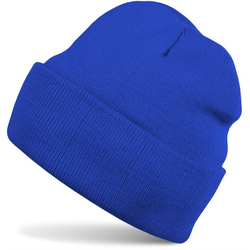 styleBREAKER Strickmütze Kinder Strickmütze mit Krempe blau