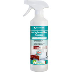 HOTREGA® Hochglanzmöbelreiniger, Pflegereiniger für hochglänzende Küchen-, Wohn- und Badmöbel, 500 ml - Flasche
