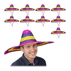10 x Sombrero Hut Riesensombrero Tequilahut 55 cm Partyhut Mexikohut Mexikaner mehrfarbig