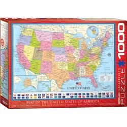 empireposter Puzzle Landkarte - Karte der USA - 1000 Teile Puzzle Format 68x48 cm, 1000 Puzzleteile