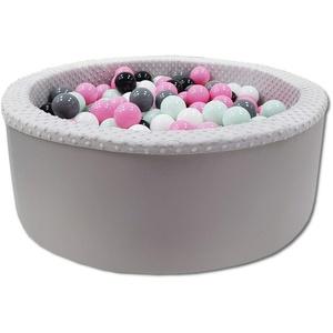 Odolplusz Bällebad 90x30 cm ∅ 7Cm   Bällepool für Baby mit 200 bunten Bällen Rund, viele Farben zur Auswahl (Grau - Mädchen)