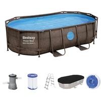 BESTWAY Power Steel Pool Komplett-Set, oval, 427 x 250 x 100 cm, mit Filterpumpe, Sicherheitsleiter und Abdeckplane