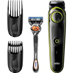 Braun BT3041 Bartschneider, Haarschneider, Rasierer abwaschbar Schwarz, Grün
