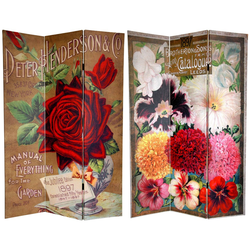"6"" Double Sided Flower Seeds Canvas Room Divider Roses - Oriental Furniture"
