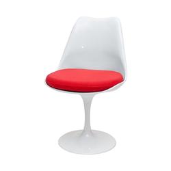 Krzesło Tul białe z czerwoną poduszką