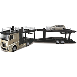 Bburago Spielzeug-Transporter StreetFire MB Actros Autotransporter, inklusive Spielzeugauto grau Kinder Spielzeug-LKW Spielzeugautos Autos, Eisenbahn Modellbau