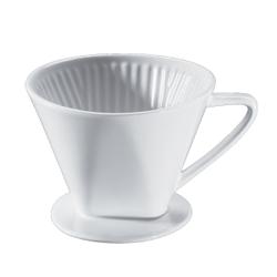 Cilio Kaffeefilter, weiß, Weiß glasierter Filter aus Keramik mit einem Loch, Durchmesser: 14 cm