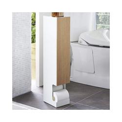 Yamazaki Toiletten-Ersatzrollenhalter Rin, Toilettenpapierständer, Aufbewahrung mit Ablage, stehend weiß