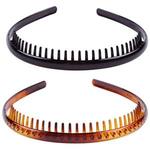 FRCOLOR 2 Stück Kunststoff Einfach haarreif Zähne Kamm Stirnbänder, Rutschfestes Elastisches Haarband Haarreif mit Zähnen Haarreifen Haarschmuck Stirnband für Männer und Damen(Kaffee Schwarz)