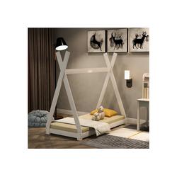 Vaxiuja Kinderbett Schönes Hausbett Kinderbett, Indisches Bett Kinderhaus Massivholz Zelt Holz mit Lattenrost für Kinder- und Jugendzimmer,Weiß (140x70cm) weiß