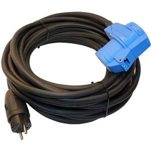 Adapterkabel Schutzkontakt Gummistecker IP44 auf CEE-Winkelkupplung mit integrierter Schutzkontaktsteckdose 16A H07RN-F 3G 2,5mm2 (10m)