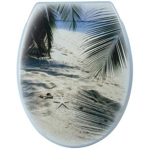 Sanlux 40385 6 Sitz Urlaubsfeeling, Toilettensitz, WC-Brille aus Duroplast, Klodeckel, Toilettendeckel, Metall-Scharnier, Universal