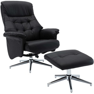 Relaxsessel mit Hocker - schwarz - Leder - Wippfunktion