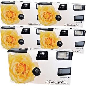 5X PHOTO PORST Hochzeitskamera/Einwegkamera gelbe Hochzeitsrose (deutsche Bedienungsanleitung, mit Blitzlicht und Batterien, je 27 Fotos, ISO 400 Fuji)
