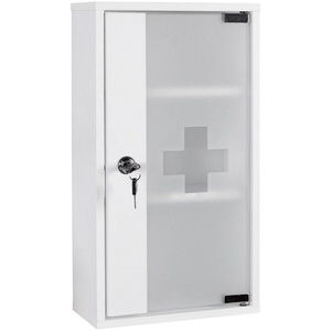 Wohnling Medizinschrank WL1.346 Medizinschrank ELLA Holz Weiß 26 x 48 x 12 cm abschließbar mit 3 Fächern Medikamentenschrank mit Glas-Tür Erste Hilfe Arznei-Schrank mit Kreuz Hausapotheke ohne Inhalt