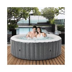 mSpa Whirlpool Comfort Ottoman C-OM061 aufblasbarer Outdoor Whirlpool, Rattan-Optik, Für 6 Personen, 204.0 x 204.0 x 70.0 cm