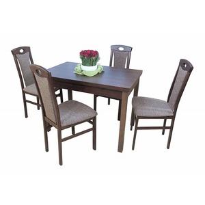 Essgruppe 5-tlg. Esstisch-Ausziehbar Stühle Tischgruppe Nussbaum/Cappuccino