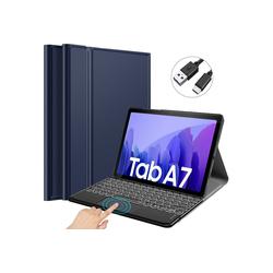 IVSO Tablet Tastatur für Samsung Galaxy tab A7 lite Tablet-PC 10.4 [QWERTZ Deutsches] Tablet-Tastatur (Beleuchtete Bluetooth Tastatur mit Touchpad) blau