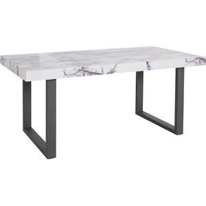 Guido Maria Kretschmer Home&Living Esstisch Sinaia, mit einer MDF folierten Marmor-Optik Tischplatte, edlem U-Gestell aus Metall, in drei verschiedenen Tischbreiten erhältlich 180 cm x 76,5 cm x 90 cm
