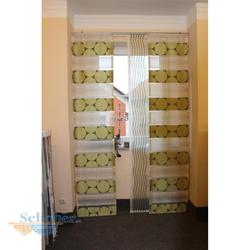 Musterfenster Vorhang Gardinen Flächenvorhang grün braun beige, fertig genäht