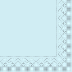 Mank Servietten aus Tissuewatte, 25 x 25 cm, 1/4 Falz, 3-lagig, 1 Karton = 2 x 1200 Stück = 2400 Stück, hellblau