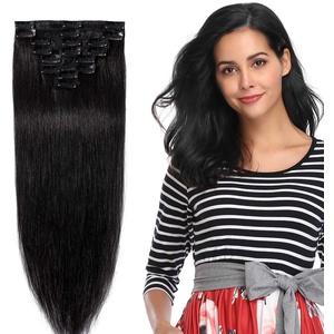 Clip In Extensions Echthaar Remy Haarverlängerung Echthaar dünn 8 Tressen 18 Clips 30cm - 55g - (#1 Schwarz)