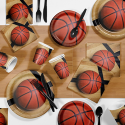 85pk Basketball Supplies Party Kit Disposable Dinnerware Set Orange/Brown