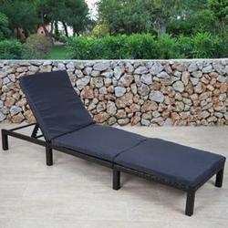 Poly-Rattan Sonnenliege MCW-A51, Relaxliege Gartenliege Liege ~ Basic anthrazit, Kissen grau