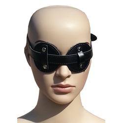Bondage Leder Augenmaske Augenbinde mit Pelz schwarz