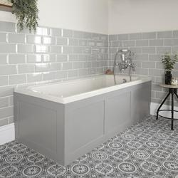Einbau-Badewanne mit Verkleidung in Hellgrau 1700 x 750mm - Richmond, von Hudson Reed