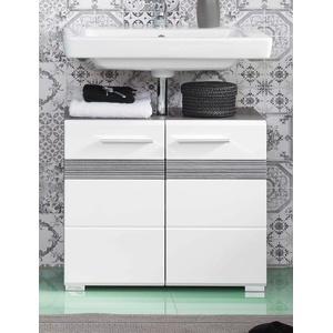 Waschbeckenunterschrank weiß Hochglanz grau Waschtisch Unterschrank 60 cm SetOne