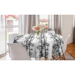 Abakuhaus Tischdecke Kreis Tischdecke Abdeckung für Esszimmer Küche Dekoration, Bambus Bambus-Baum-Blätter