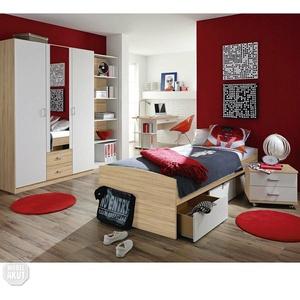 Jugendzimmer-Set Point Kinderzimmer Bett Schrank Schreibtisch Sonoma Eiche Weiß
