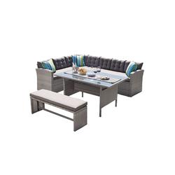 HTI-Line Sitzgruppe Terrassenmöbel Elba, (1x 3-Sitzer Ecksofa, 1x 3-Sitzer, 1x Bank, 1x Tisch, inkl Sitzkissen und Rückenkissen, 4-tlg), Terrassenmöbel
