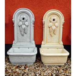 BAD-2125 Wandbrunnen mit Weintraube als Wasser Zapfstelle und Gartenbrunnen 97cm 97kg (Farbe: hellgrau)